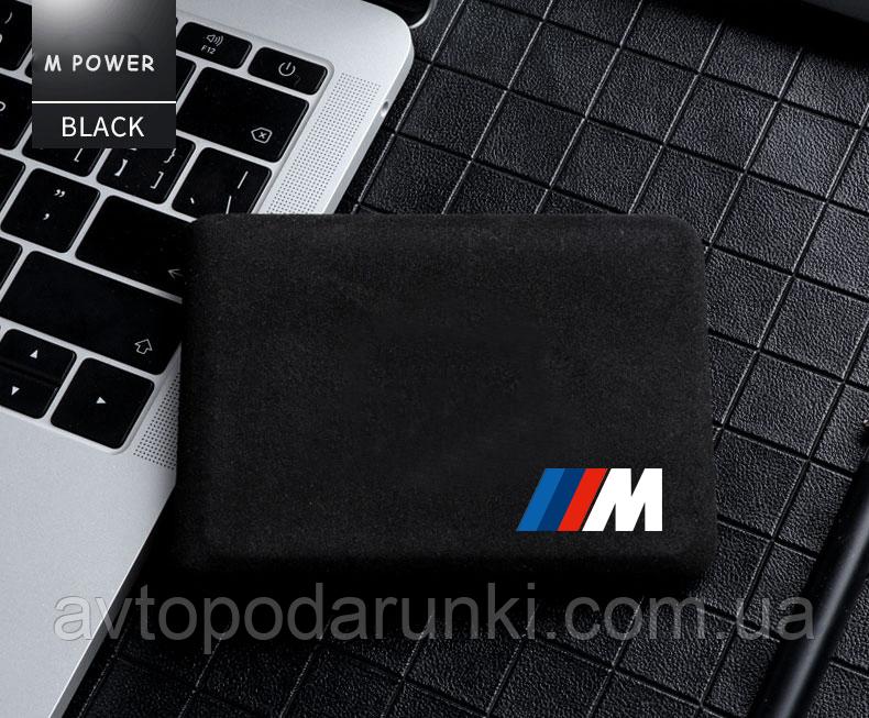 Обложка для водительских документов и  карт с логотипом M BMW (Алькантара черная, структурная) M26-05