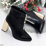 Элегантные черные ботинки ботильоны на удобном бежевом каблуке, фото 9