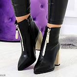 Элегантные черные ботинки ботильоны на удобном бежевом каблуке, фото 10
