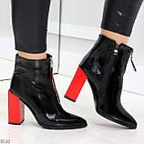 Элегантные черные ботинки ботильоны на удобном красном каблуке, фото 3