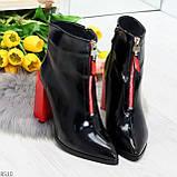 Элегантные черные ботинки ботильоны на удобном красном каблуке, фото 4