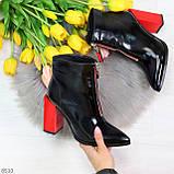 Элегантные черные ботинки ботильоны на удобном красном каблуке, фото 6