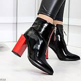 Элегантные черные ботинки ботильоны на удобном красном каблуке, фото 7