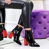 Элегантные черные ботинки ботильоны на удобном красном каблуке, фото 8