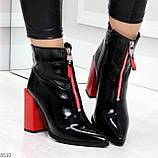 Элегантные черные ботинки ботильоны на удобном красном каблуке, фото 9