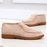 Удобные повседневные бежевые женские замшевые черные туфли мокасины автоледи, фото 3