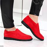 Удобные повседневные красные женские замшевые черные туфли мокасины автоледи, фото 2
