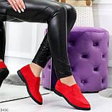 Удобные повседневные красные женские замшевые черные туфли мокасины автоледи, фото 3