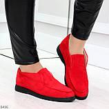 Удобные повседневные красные женские замшевые черные туфли мокасины автоледи, фото 4