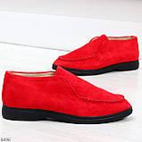Удобные повседневные красные женские замшевые черные туфли мокасины автоледи, фото 5