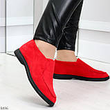 Удобные повседневные красные женские замшевые черные туфли мокасины автоледи, фото 6