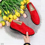 Удобные повседневные красные женские замшевые черные туфли мокасины автоледи, фото 7