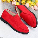 Удобные повседневные красные женские замшевые черные туфли мокасины автоледи, фото 8