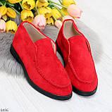 Удобные повседневные красные женские замшевые черные туфли мокасины автоледи, фото 9