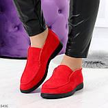 Удобные повседневные красные женские замшевые черные туфли мокасины автоледи, фото 10