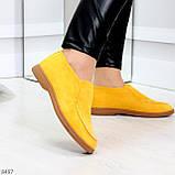Удобные повседневные желтые женские замшевые черные туфли мокасины автоледи, фото 2