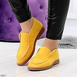 Удобные повседневные желтые женские замшевые черные туфли мокасины автоледи, фото 6