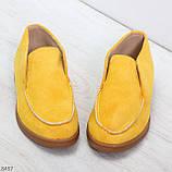 Удобные повседневные желтые женские замшевые черные туфли мокасины автоледи, фото 7