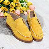 Удобные повседневные желтые женские замшевые черные туфли мокасины автоледи, фото 8