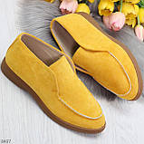 Удобные повседневные желтые женские замшевые черные туфли мокасины автоледи, фото 9