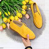 Удобные повседневные желтые женские замшевые черные туфли мокасины автоледи, фото 10