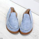 Удобные повседневные голубые женские замшевые черные туфли мокасины автоледи, фото 3