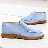 Удобные повседневные голубые женские замшевые черные туфли мокасины автоледи, фото 6