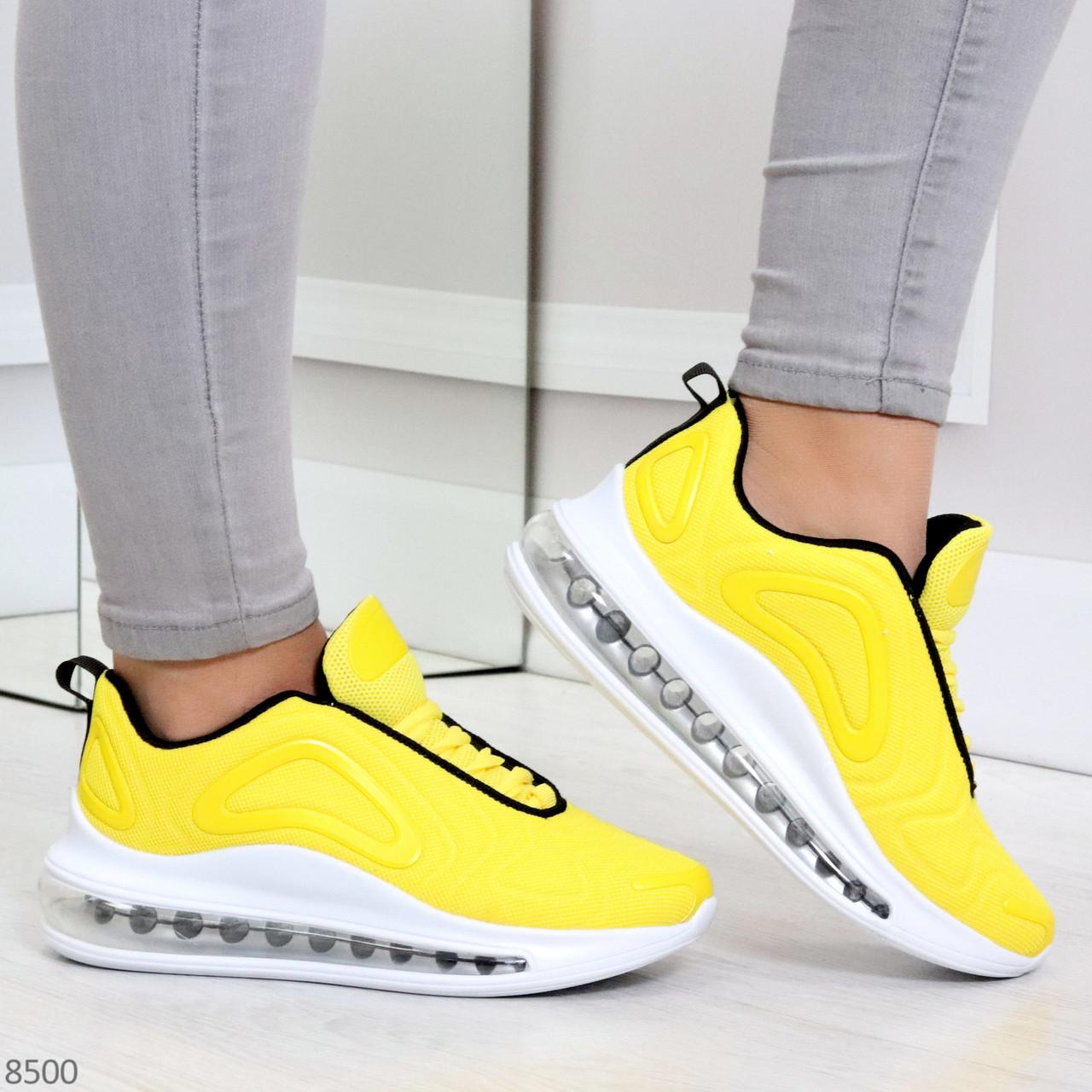 Яркие модные желтые неоновые текстильные тканевые женские кроссовки