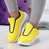 Яркие модные желтые неоновые текстильные тканевые женские кроссовки, фото 2