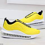 Яркие модные желтые неоновые текстильные тканевые женские кроссовки, фото 3