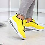 Яркие модные желтые неоновые текстильные тканевые женские кроссовки, фото 4