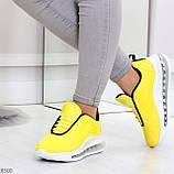 Яркие модные желтые неоновые текстильные тканевые женские кроссовки, фото 5