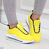 Яркие модные желтые неоновые текстильные тканевые женские кроссовки, фото 6