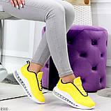 Яркие модные желтые неоновые текстильные тканевые женские кроссовки, фото 7