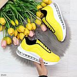 Яркие модные желтые неоновые текстильные тканевые женские кроссовки, фото 9