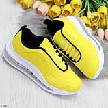 Яркие модные желтые неоновые текстильные тканевые женские кроссовки, фото 10