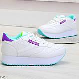 Молодежные белые женские миксовые кроссовки мультиколор на утолщенной подошве, фото 2