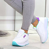 Молодежные белые женские миксовые кроссовки мультиколор на утолщенной подошве, фото 3