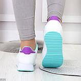 Молодежные белые женские миксовые кроссовки мультиколор на утолщенной подошве, фото 4