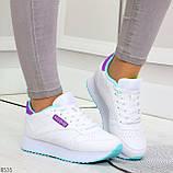 Молодежные белые женские миксовые кроссовки мультиколор на утолщенной подошве, фото 6