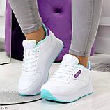Молодежные белые женские миксовые кроссовки мультиколор на утолщенной подошве, фото 8