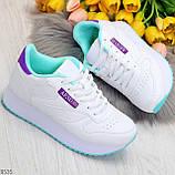 Молодежные белые женские миксовые кроссовки мультиколор на утолщенной подошве, фото 10