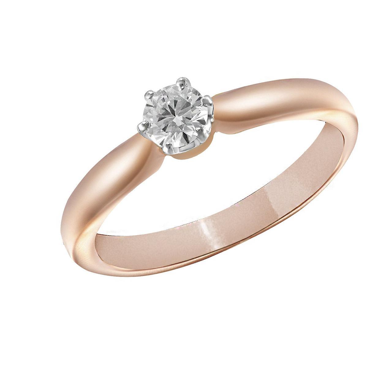 Кольцо из красного золота с бриллиантом, размер 15 (092146)