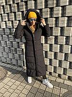 Пуховик пальто куртка плащ длинный чёрный тёплый зимняя спортивная классика кокон оверсайз одеяло