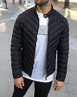 Куртка мужская весенняя осенняя демисезонная до 0*С черная | утепленная куртка Пуховик мужской ЛЮКС качества