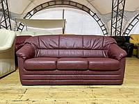 Кожаный бордовый раскладной диван «Маквин»