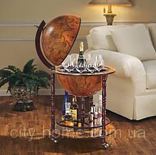 Глобус бар підлоговий на 4 ніжки 420 мм коричневий 42003R, фото 3