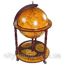Глобус бар підлоговий на 4 ніжки 420 мм коричневий 42003R, фото 2