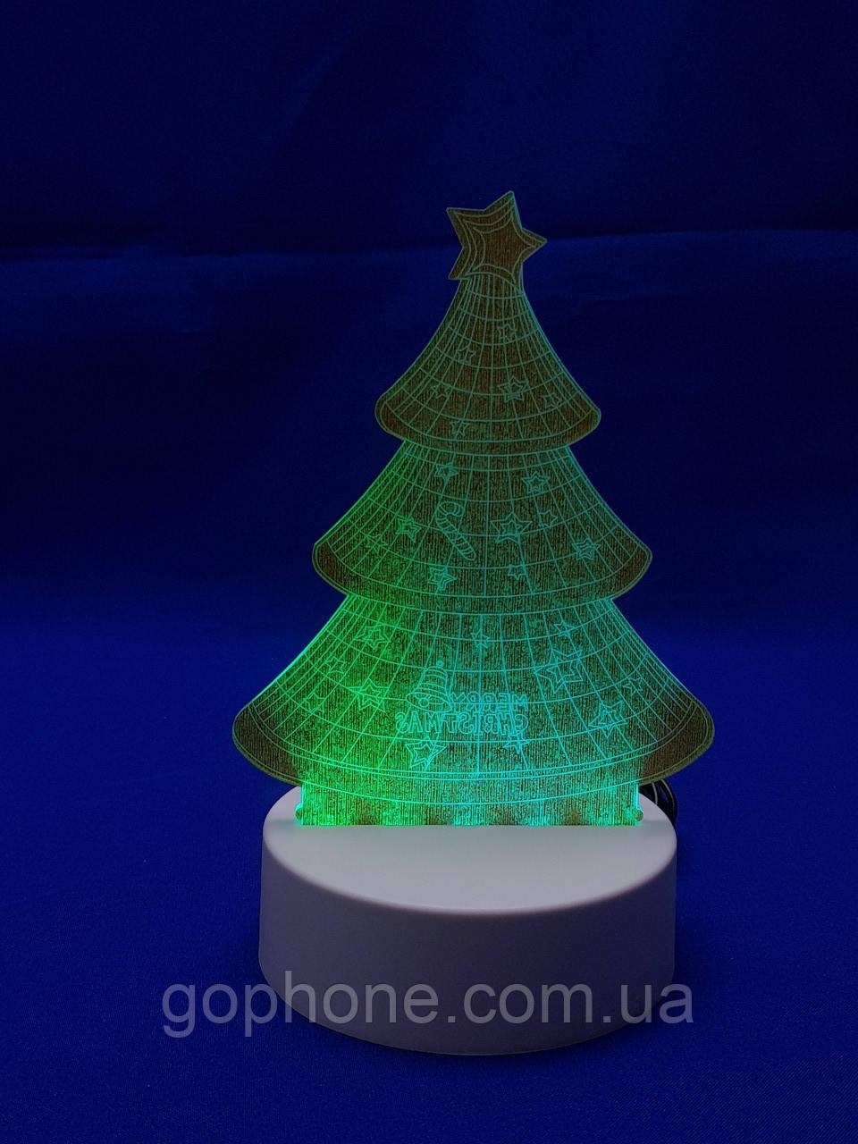 Настольный электрический светильник с 3D эффектом | Елочка