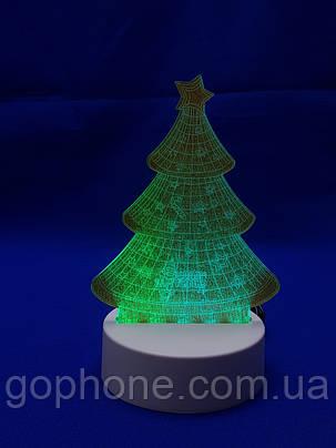 Настольный электрический светильник с 3D эффектом | Елочка, фото 2